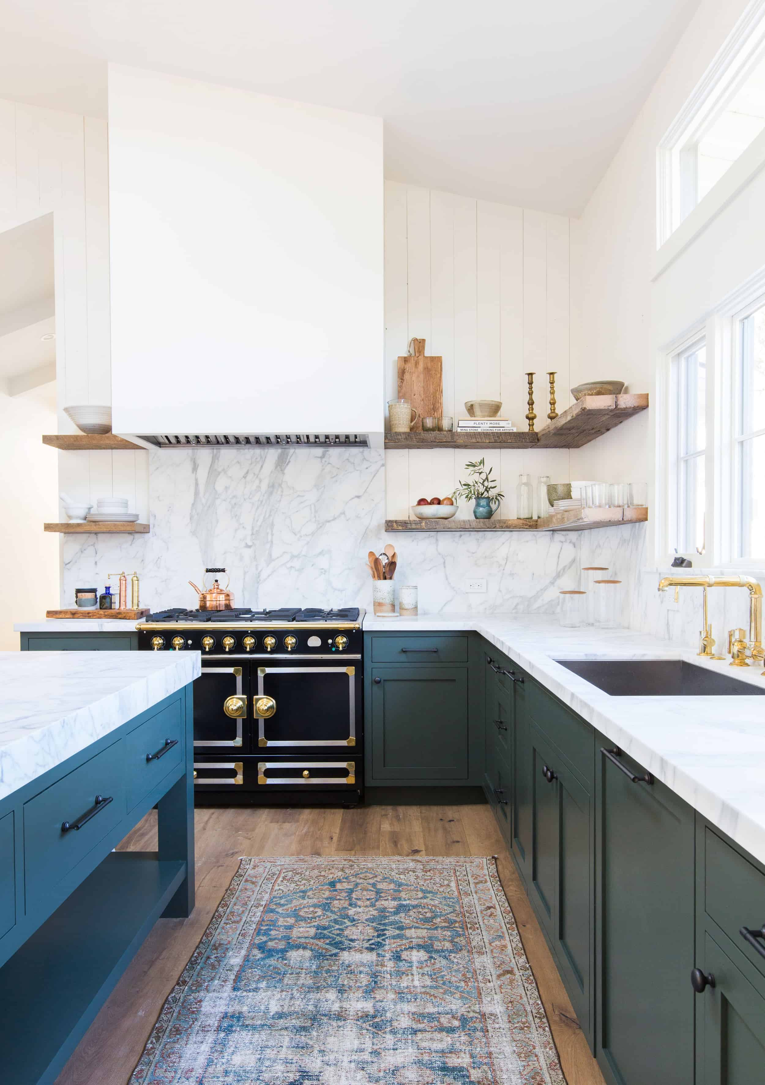 Amber Interiors Green Kitchen Cabinets Open Shelving