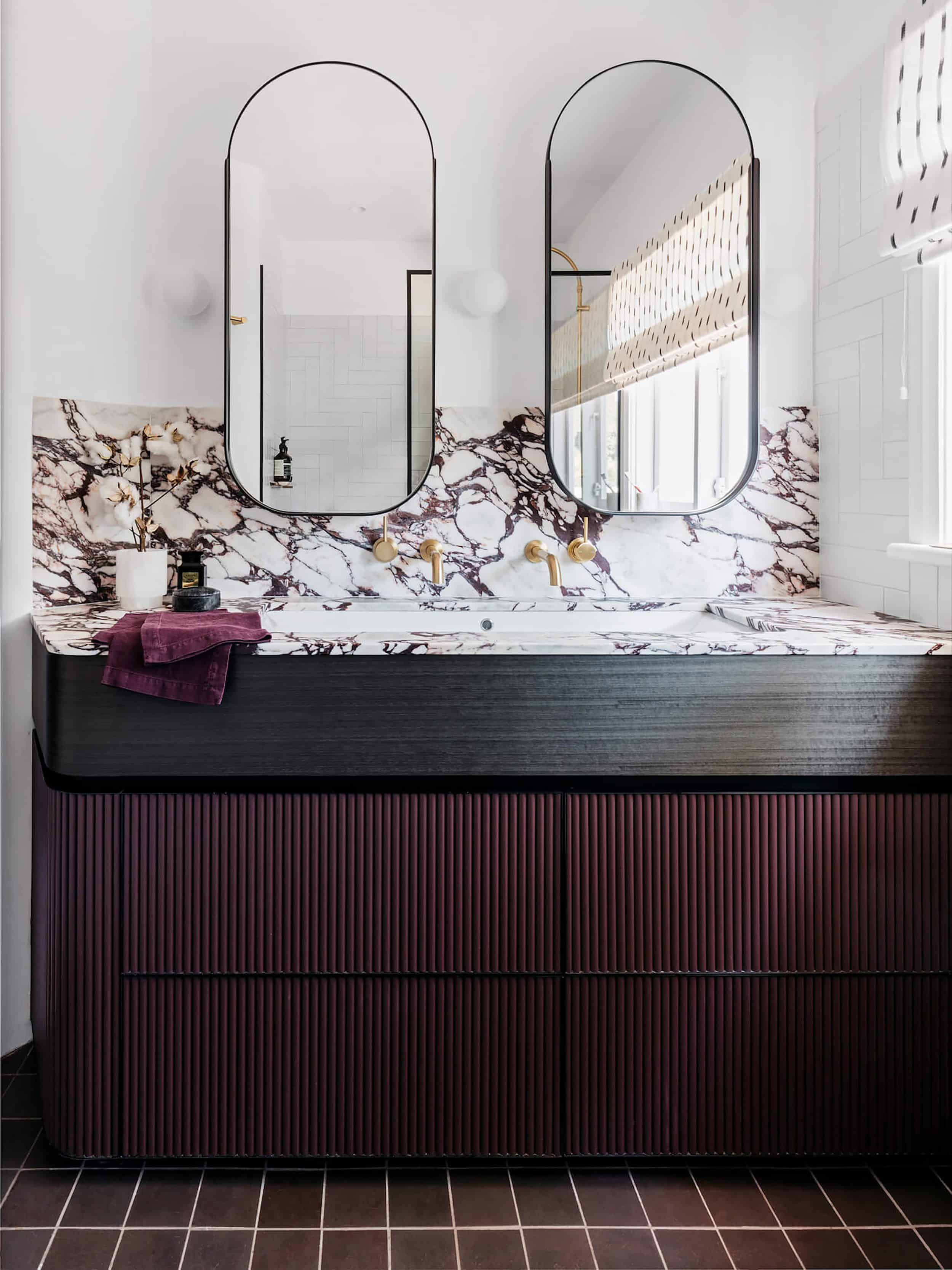 Maroon Bathroom Vanity Double Oval Mirrors