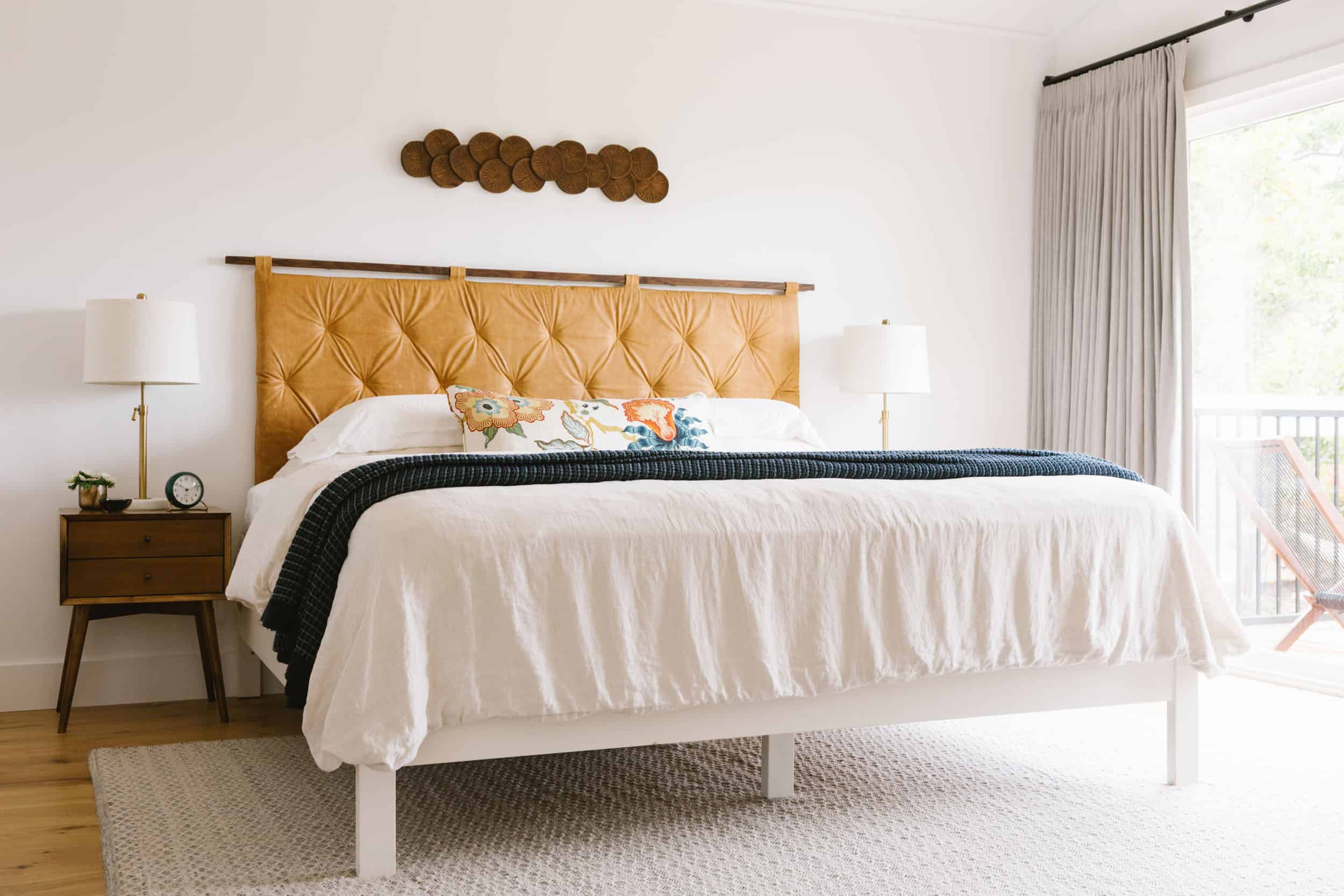 Samantha Gluck Emily Henderson Bedroom Leather Headboard