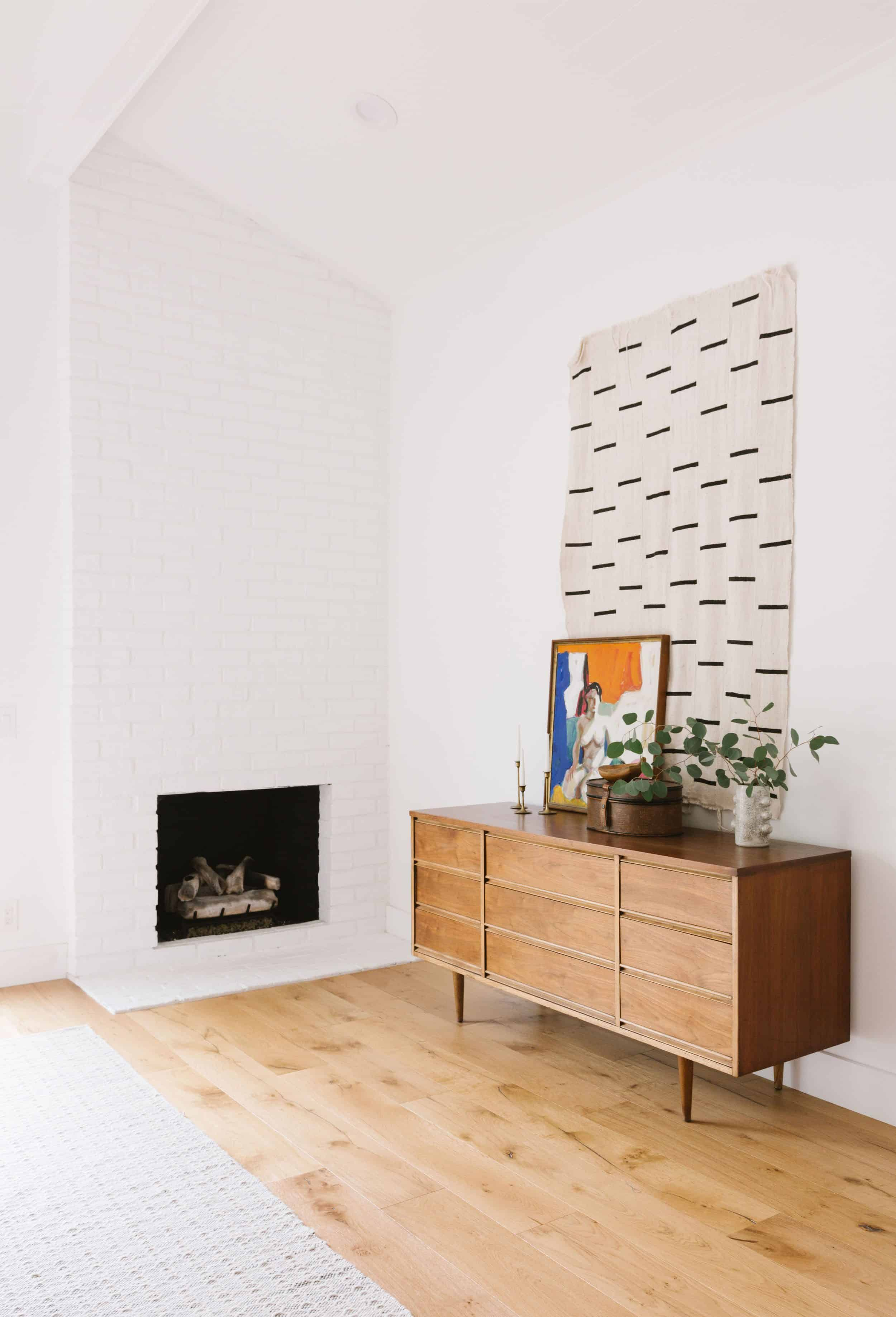 Samantha Gluck Emily Henderson Living Room Modern White Brick Fireplace