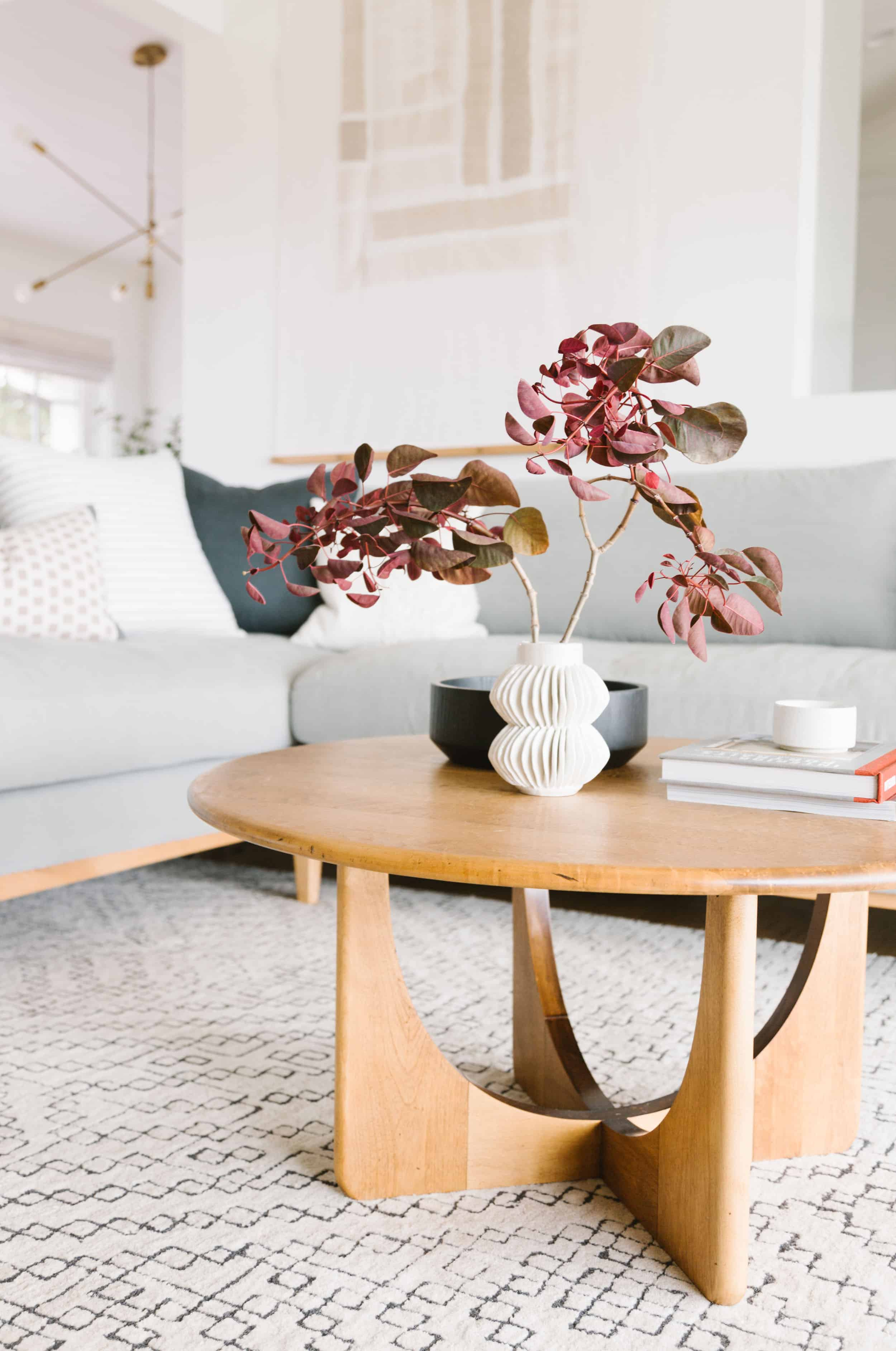 Samantha Gluck Emily Henderson Living Room Modern Wood Coffee Table