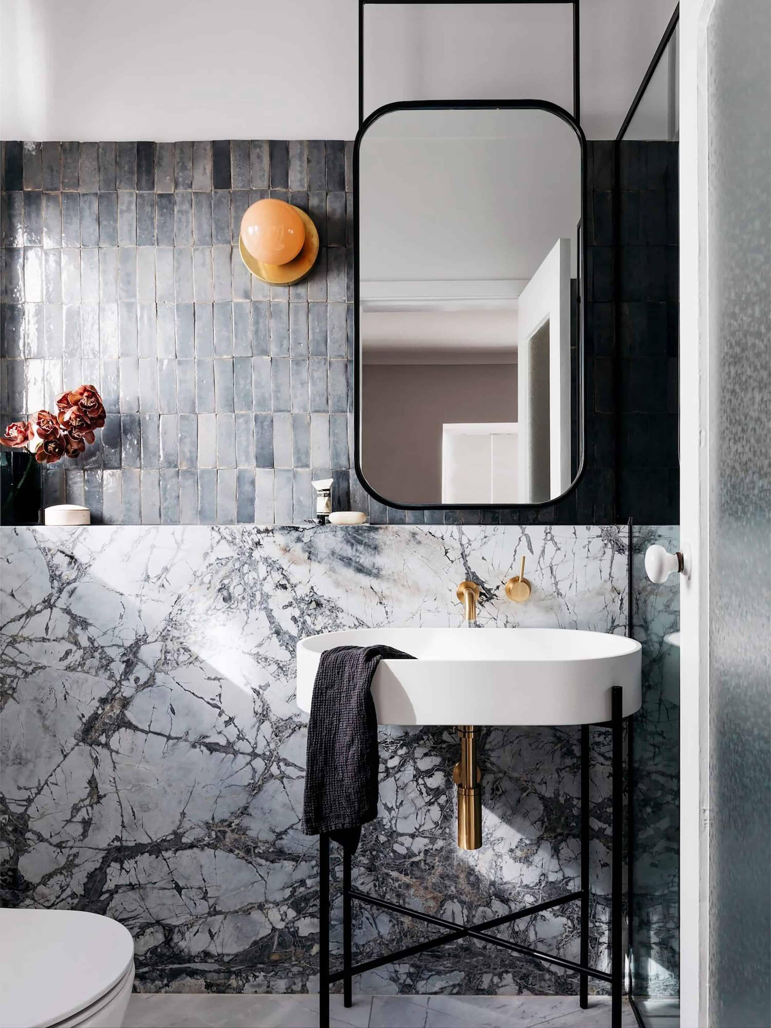 Decus Interiors Modern Bathroom Suspending Mirror