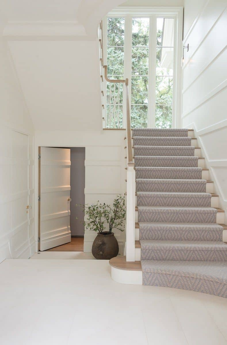 Should I Add A Carpet Or Rug Runner To My Mountain House Staircase | Running Carpet For Stairs | Carpet Runners | Laminate Flooring | Runner | Hallway | Grey