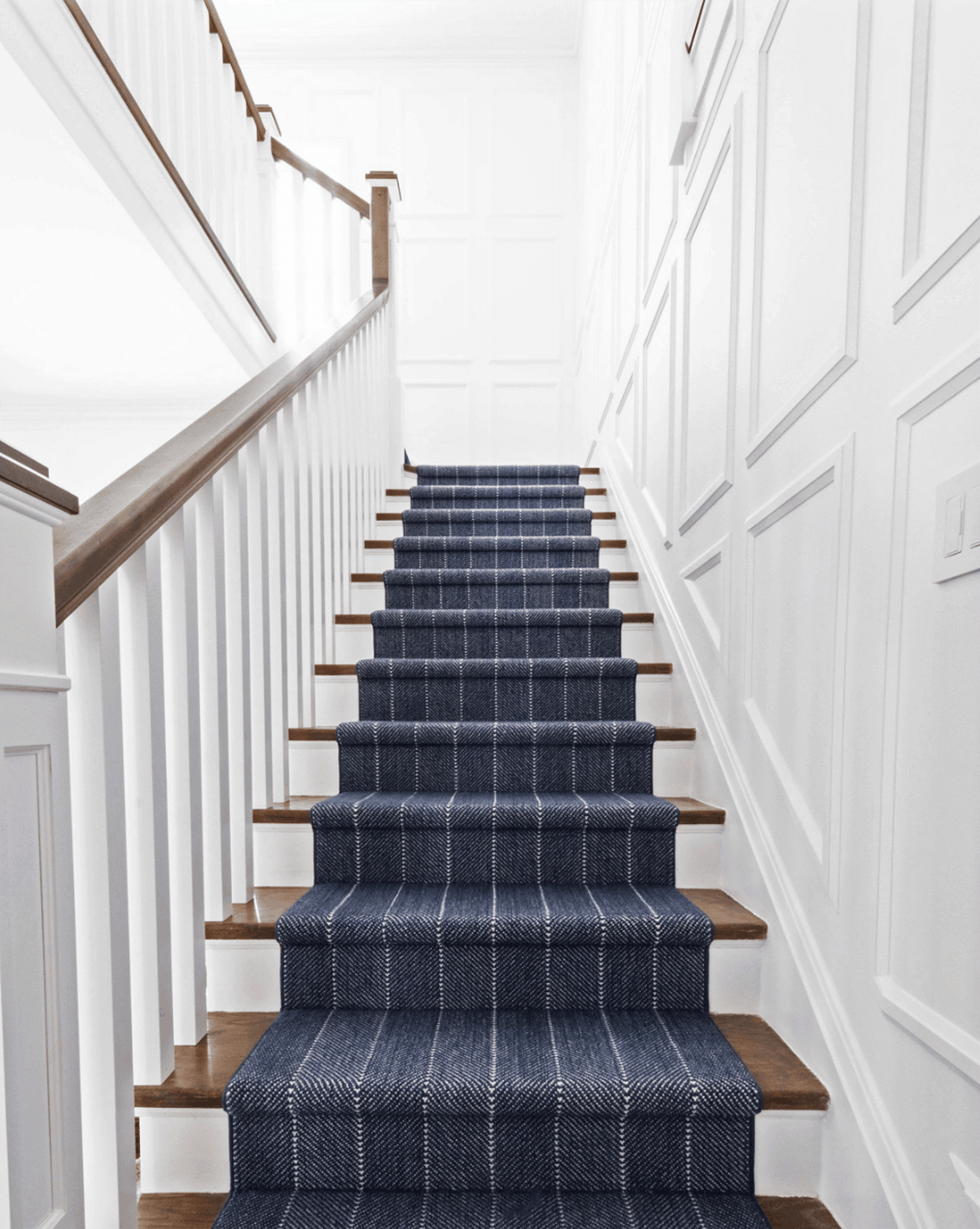 Should I Add A Carpet Or Rug Runner To My Mountain House Staircase | Navy Carpet On Stairs | Wooden | Loop Pile | Wall To Wall Carpet | Dark Blue | Geometric