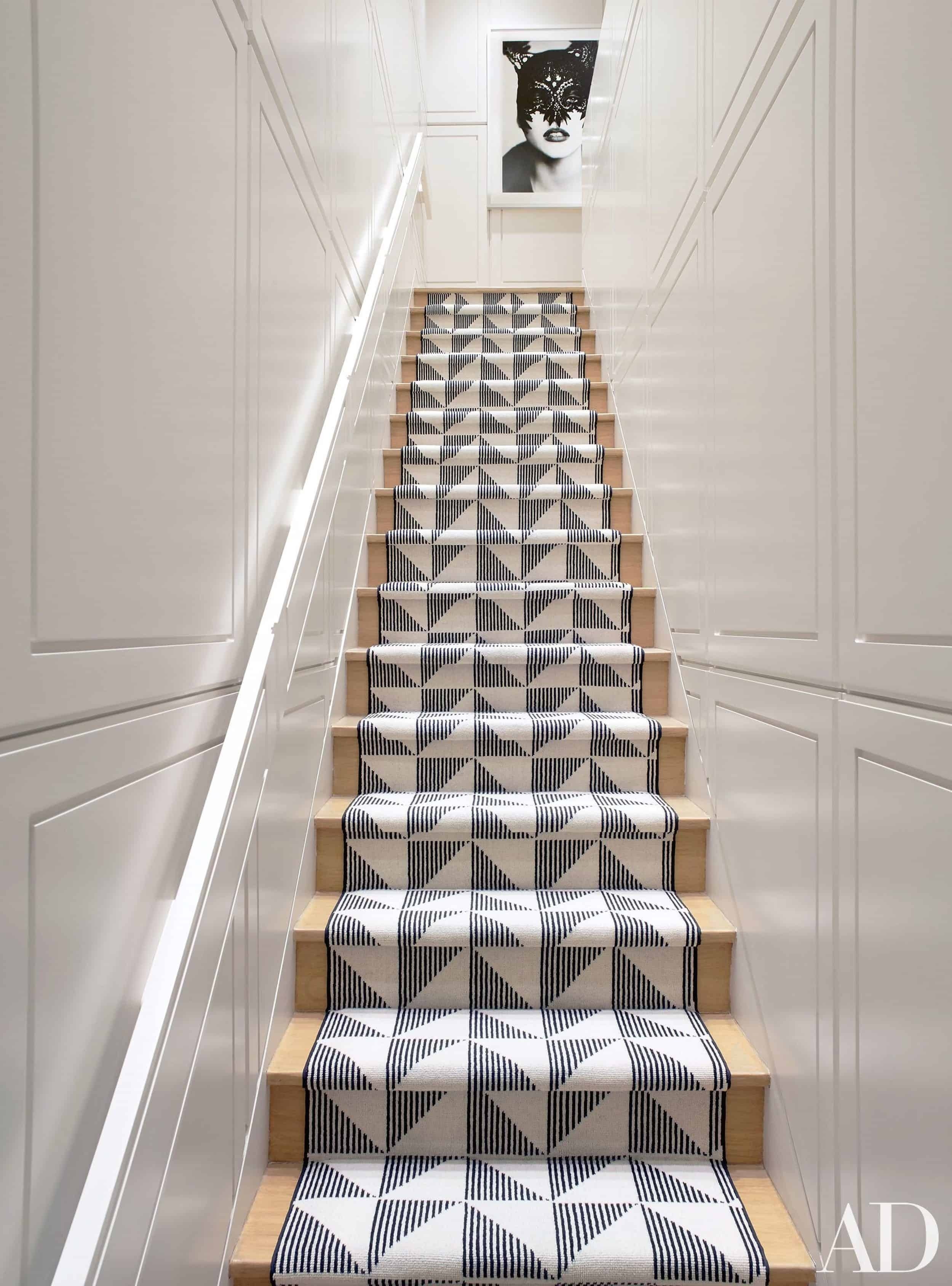 Should I Add A Carpet Or Rug Runner To My Mountain House Staircase | Modern Carpet Stair Treads | Beige Carpet | Wood | Basement Stairs | Grey | Modern Trellis