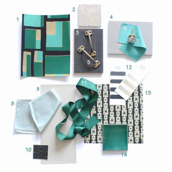 green and gold materials board