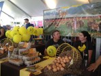 Egg farmers show off their organic eggs