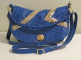 Royal Blue & Gold Studded Recycled Leather Purse