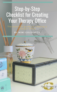 Therapy Office that uses coastal serene colors. Perfect for a psychotherapist or social worker office.