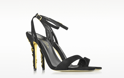 Black Suede Sandal Golden Crystals heels for women