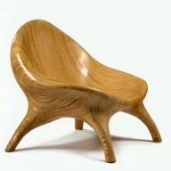 stack-laminated plywood chair by Julia Krantz