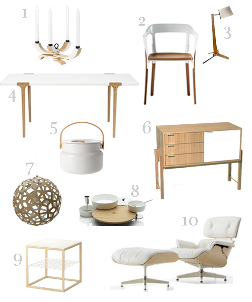 WHITE AND WOOD FURNITURE AND HOME ACCESSORIES