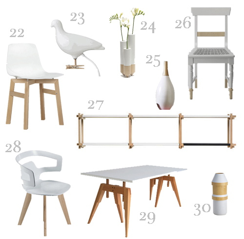 WHITE AND WOOD FURNITURE AND ACCESSORIES
