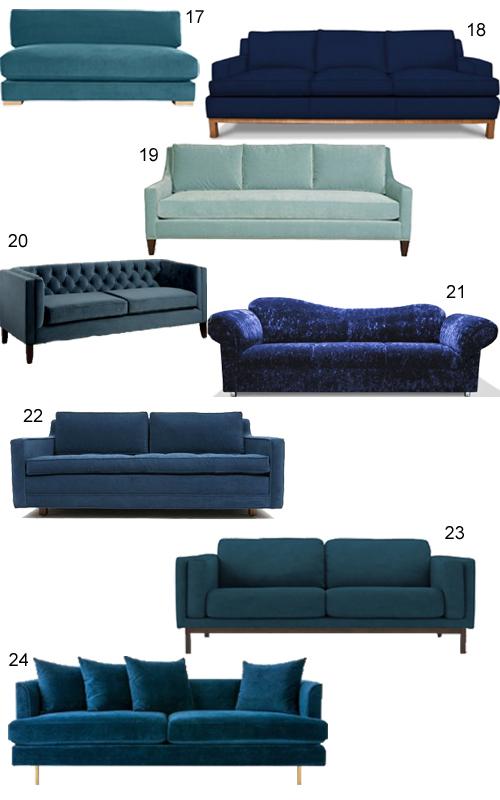 Modern Blue Velvet Sofas
