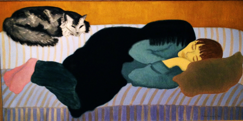 March Avery Oil Painting Woman Cat Nap