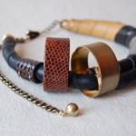 Covet: Snakeskin & Brass Necklace by Beatrice Kim