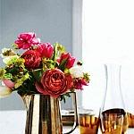 Sunday Bouquet: Rust Flowers in Brass Pitcher