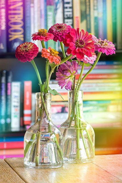 zinnias-and-books