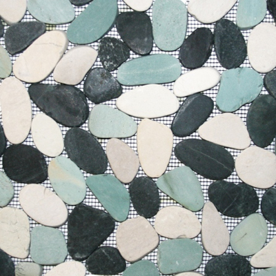 Bathroom Floor Pebble Tiles In White & Blue