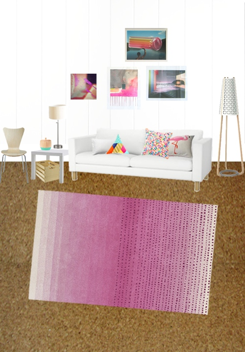 Pink Ombre Fade Living Room Rug