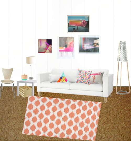 Ikat Pattern Living Room Rug