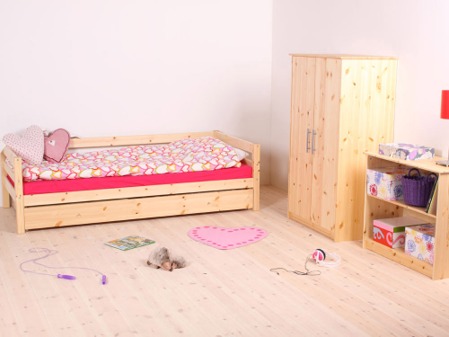 Girls Room With Unfinished Wood Furnishings