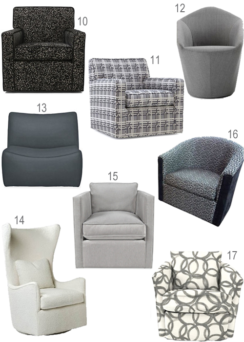Modern Grey Upholstered Swivel Chairs