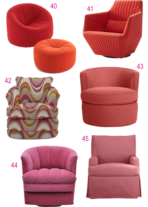 Modern Pink Red Upholstered Swivel Chairs
