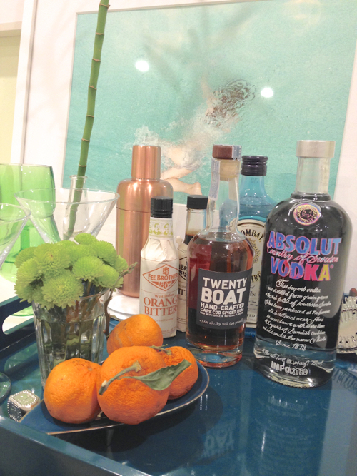 StyleCarrot's Home Bar With Turquoise Lacquer Tray And Absolut Warhol