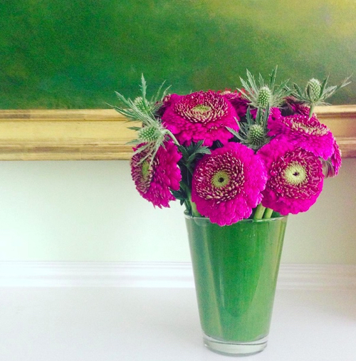 Fall Floral Arrangement With Dahlias And Thislte