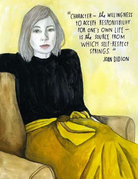 Portrait Of Joan Didion By Lisa Congdon