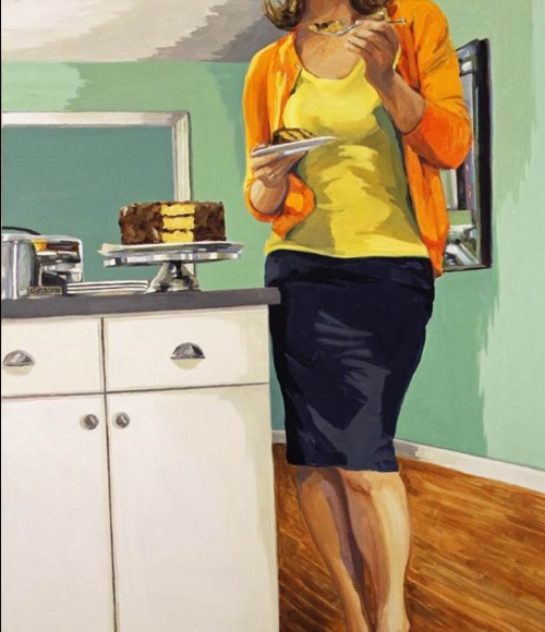 Interior Painting With Woman and Cake By Leslie Graff