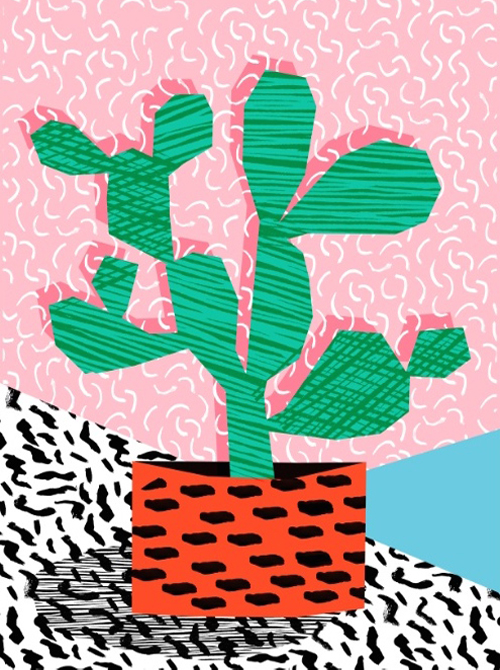 Affordable Artwork Of Retro Cactus Still LIfe