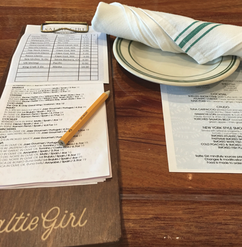 Tinned Fish Clipboard Menu New Boston Dining Experience Saltie Girl