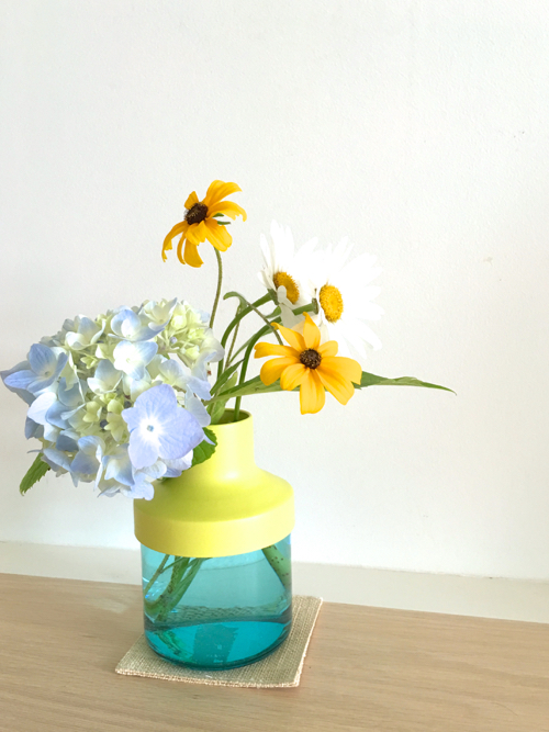 Hydrangeas Black Eyed Susans And Daisies In IKEA PS 2014 Vase