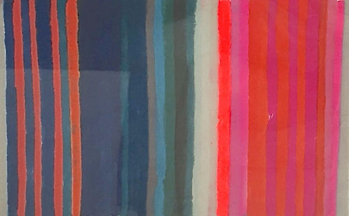 Kristi Kohut Striped Rice Paper Painting