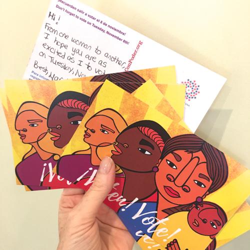 Sending postcards to encourage women to vote.