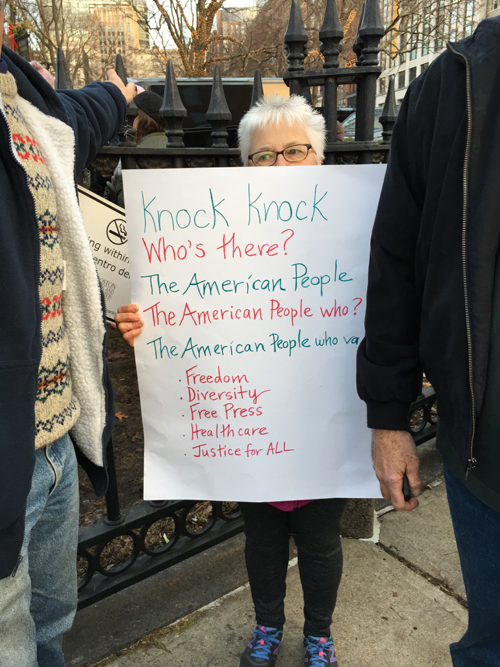 Knock Knock Message On Boston Women's March Sign