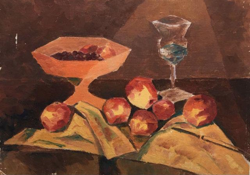 Vintage Still LIfe Painting Of Fruit And Pedestal Bowl