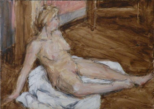Seated Female Nude Figure Study Painting
