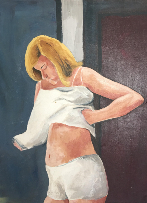 Mid-Century Oil Portrait of Woman Changing