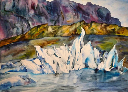 Iceland Iceberg Painting By Lisa Goren