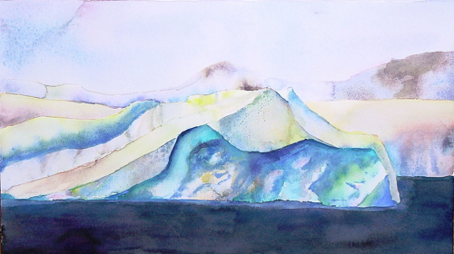 Winter Watercolor of Iceberg By Lisa Goren