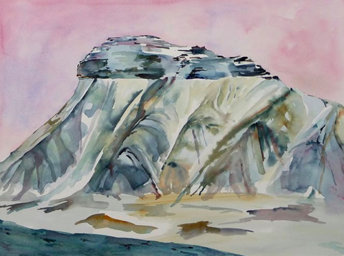 Wintery Watercolor Paintings With Ice and Icebergs