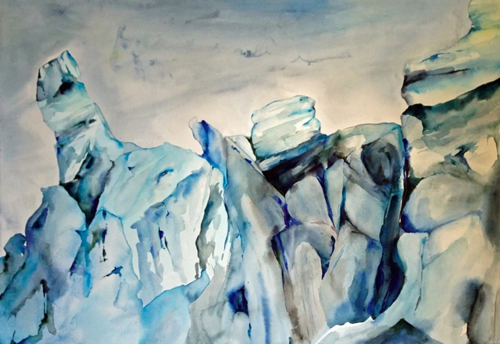 Glacier Watercolor By Boston Painter Lisa Goren
