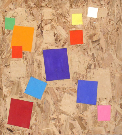 Multicolor Cubes on Plywood At Mass Art Auction