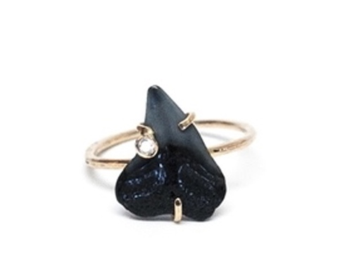 Shark Tooth Ring With Diamond In 14K Gold By Mary MacGill