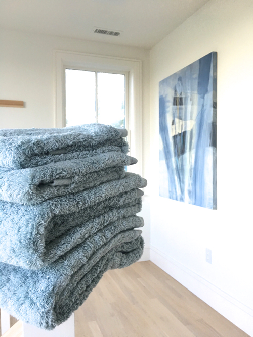 Serena & Lily Calistoga Bath Towels Folded Stack In the Hall