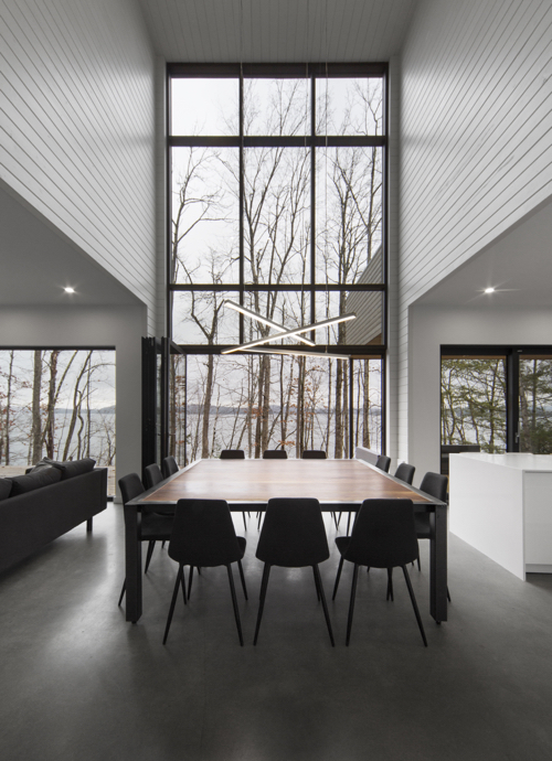 Contemporary Home In Canada With Glass Walls Modern Dining Room
