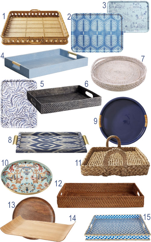 California Coastal Serving Trays Rattan Seagrass Blue & White Tabletop